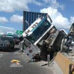Accidente de patana provoca largo «tapón» en Autopista Duarte