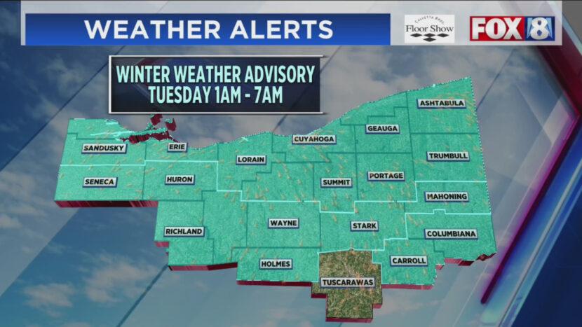 Advertencia de clima invernal hasta el martes por la mañana en el noreste de Ohio