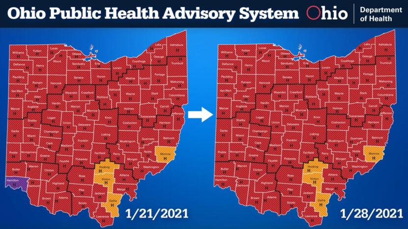 No hay condados en el nivel púrpura del sistema de alerta COVID-19 de Ohio