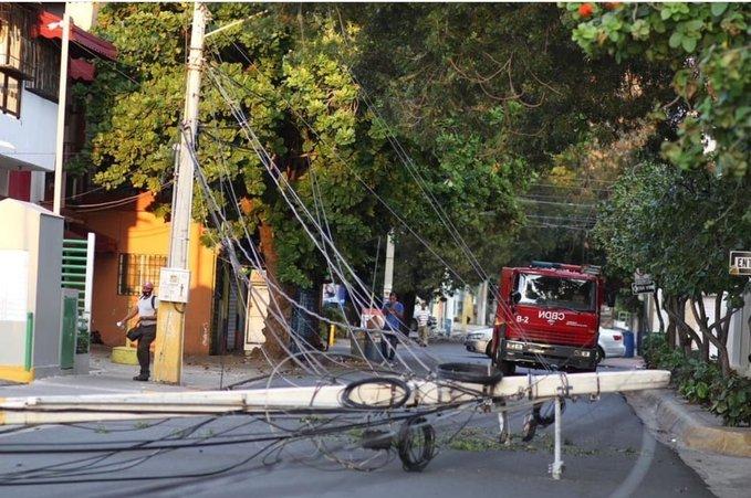 Sectores que se han quedado sin servicio eléctrico por accidente en la Gómez con Santiago