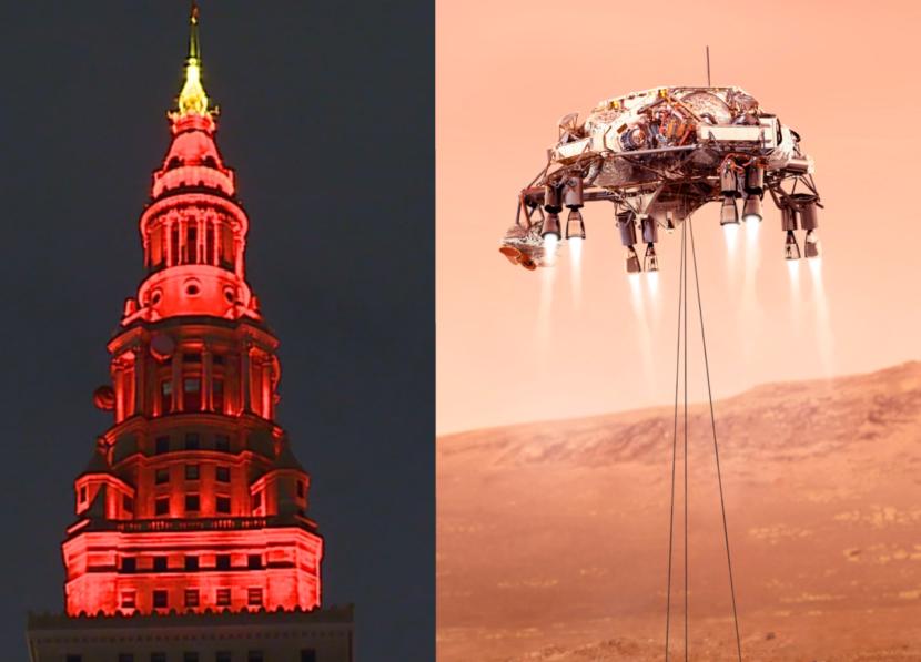 Terminal Tower, edificios de todo el país se iluminan para celebrar el aterrizaje del rover en el planeta rojo