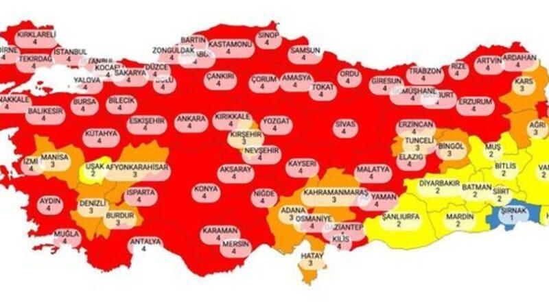 Provincia mapa de riesgo de coronavirus provincial 29 de marzo! La lista de provincias de riesgo bajo, medio, alto y muy alto está actualizada.