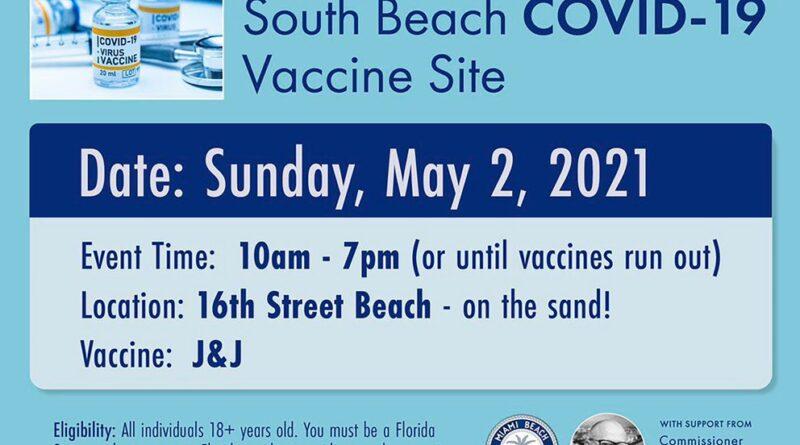 Miami Beach convoca a vacunarse contra el COVID-19 en la playa: este domingo aplicarán dosis de Johnson & Johnson hasta que se agoten