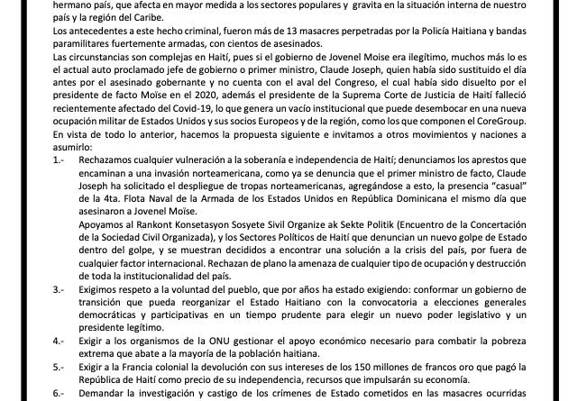 REPUDIAMOS LA DENUNCIADA  SOLICITUD DE INTERVENCIÓN MILITAR DE EEUU A LA REPÚBLICA DE HAITÍ