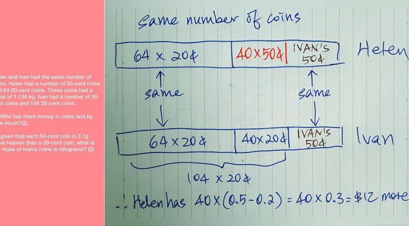 ¿Cómo resolver la pregunta del examen de matemáticas PSLE 2021 sobre las monedas de Helen e Ivan?